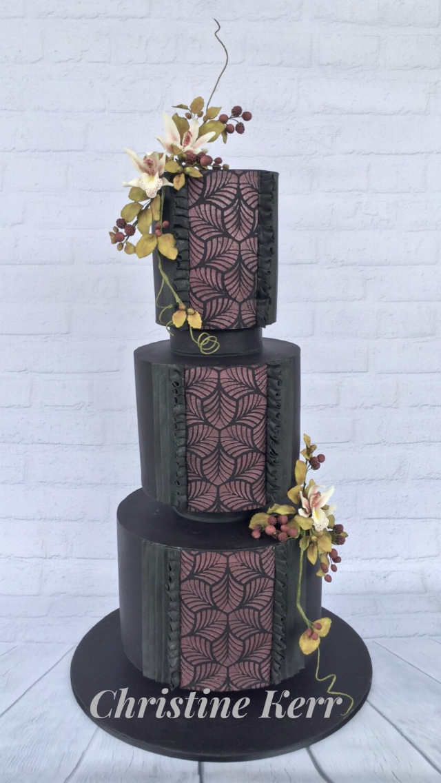 Black with burgundy fondant wedding cake