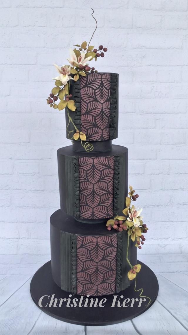 Black with burgundy fondant wedding cake