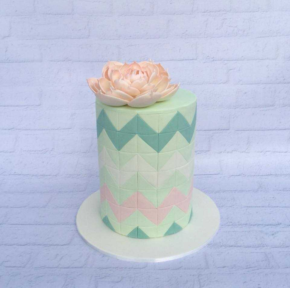 Pastel green chevron wedding cake