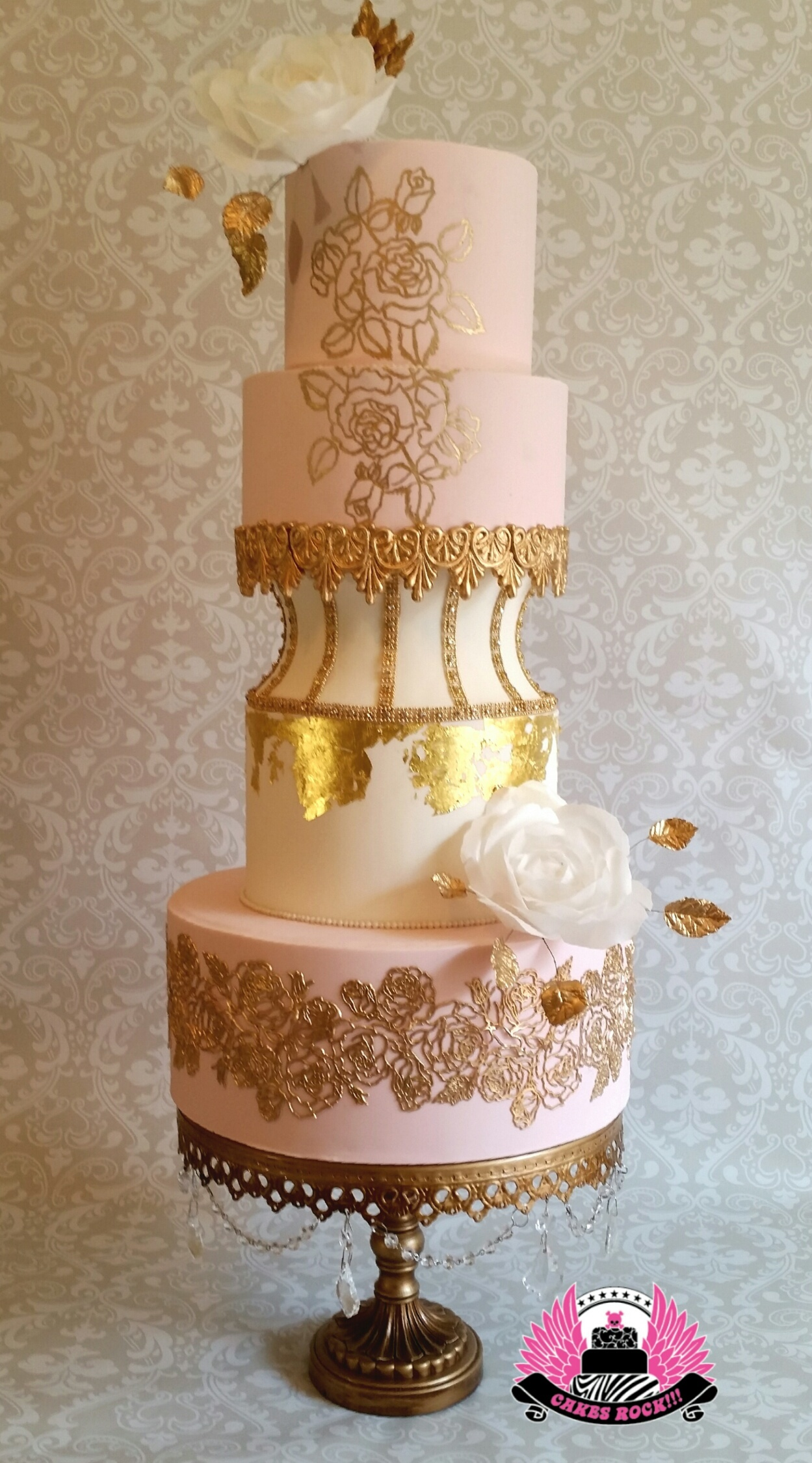 Baby pink and Gold  fondant Wedding cake