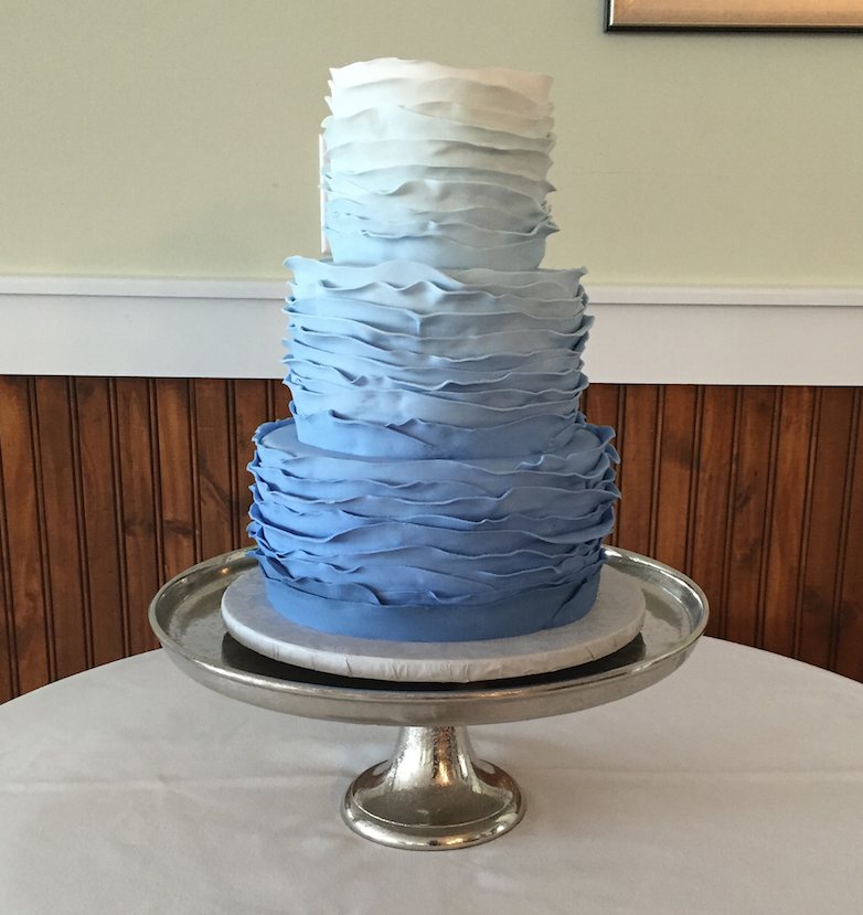 Blue and white ombre ruffle wedding