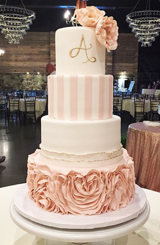 Peach and white striped fondant wedding cake