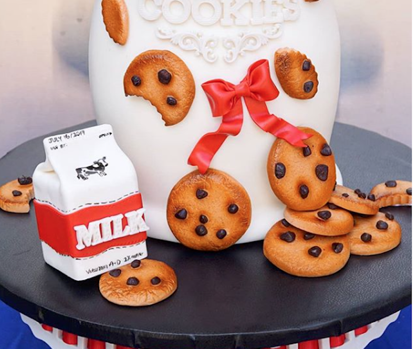 Milk and cookies themed fondant cake