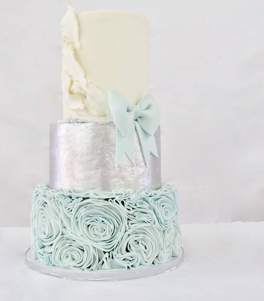 Light blue and silver fondant wedding cake