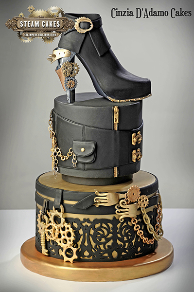Black with gold fondant steampunk shoe cake