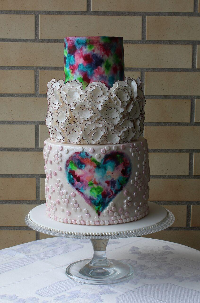 Watercolor Heart Cake