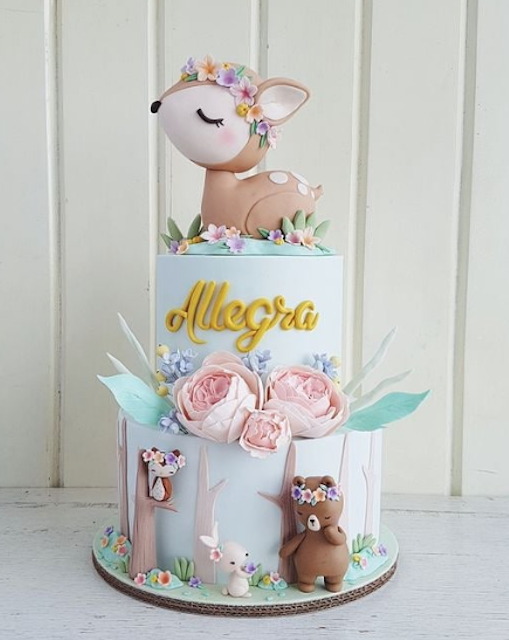 Woodland deer birthday cake