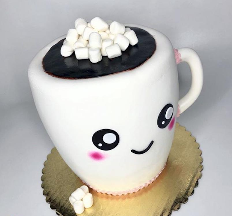 Adorable hot cocoa mug fondant cake