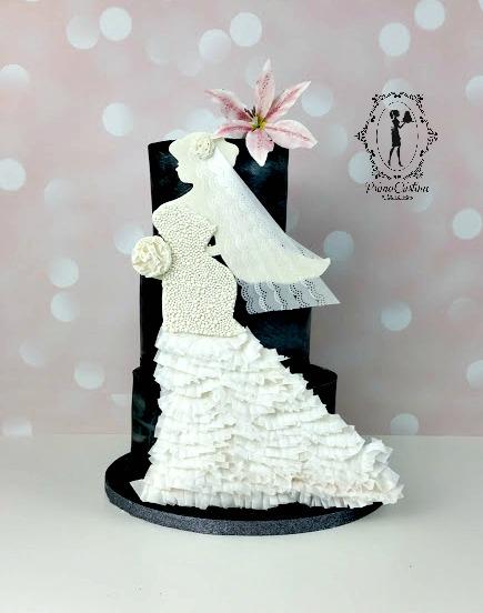 Black and white wedding dress silhouette cake