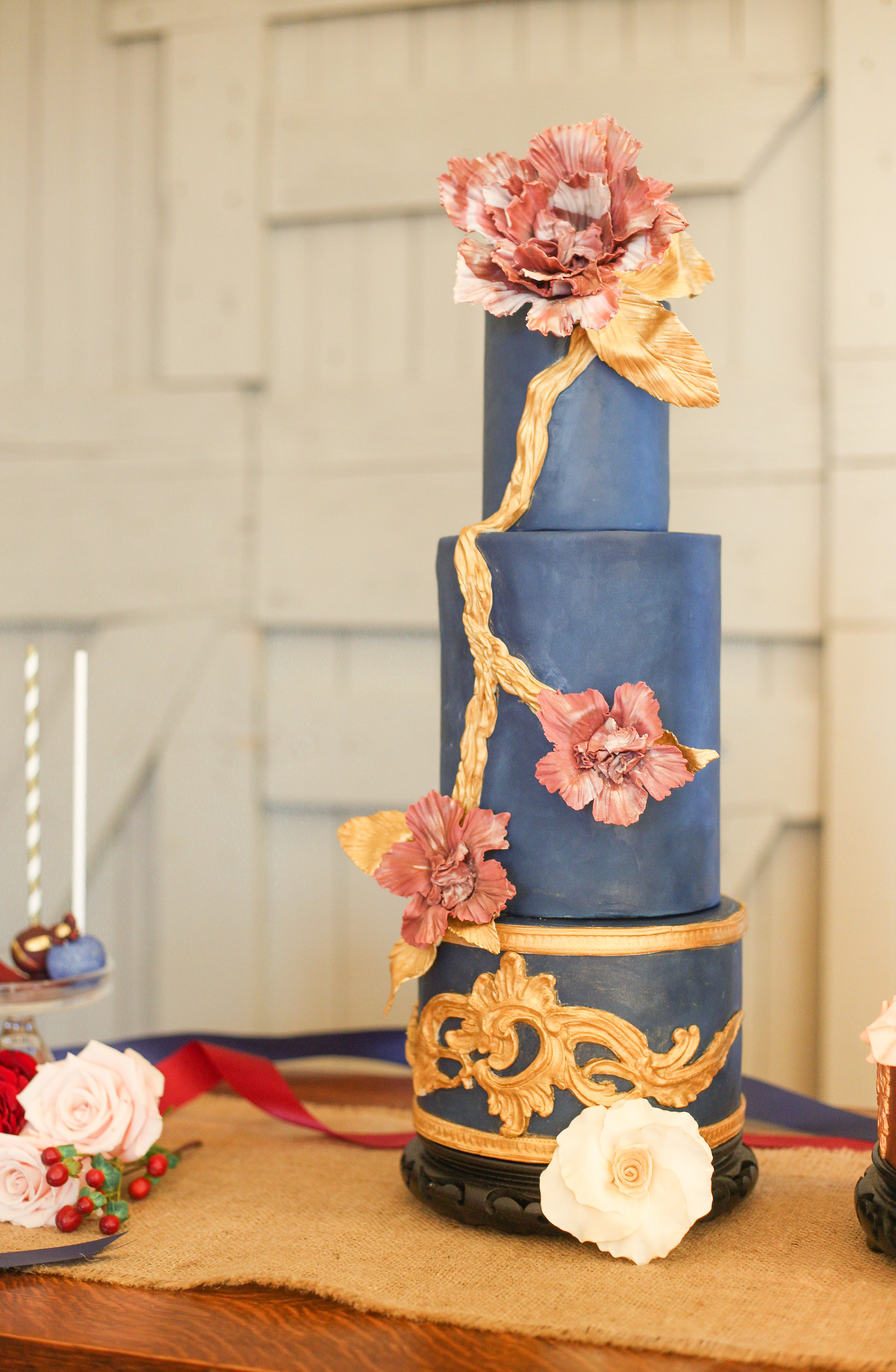 Navy blue with gold victorian wedding cake