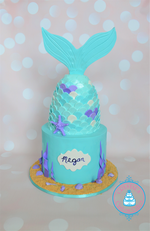 Turquoise and purple mermaid cake