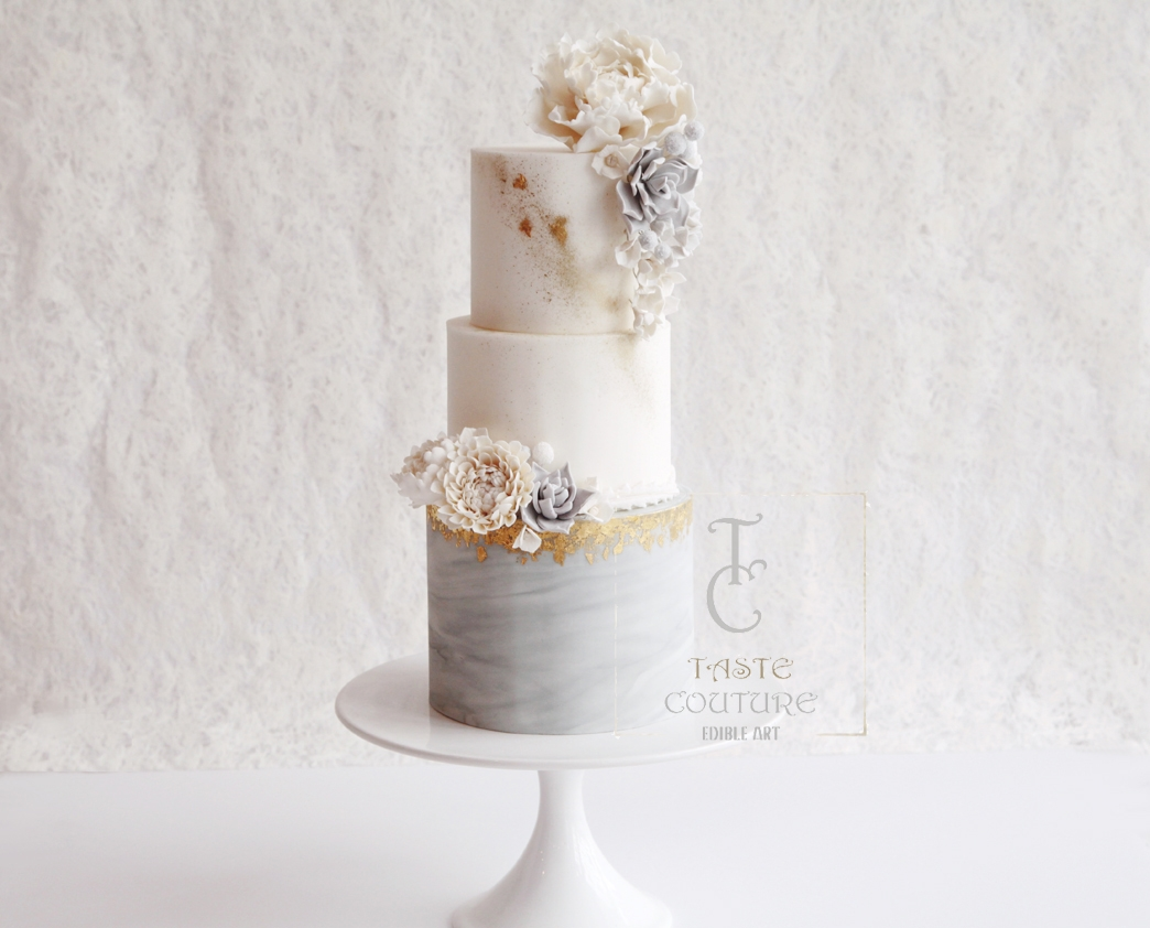 White and marble gray fondant wedding cake