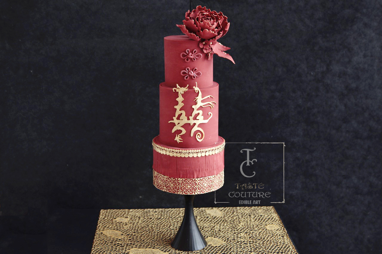 Red and gold asian flair wedding cake