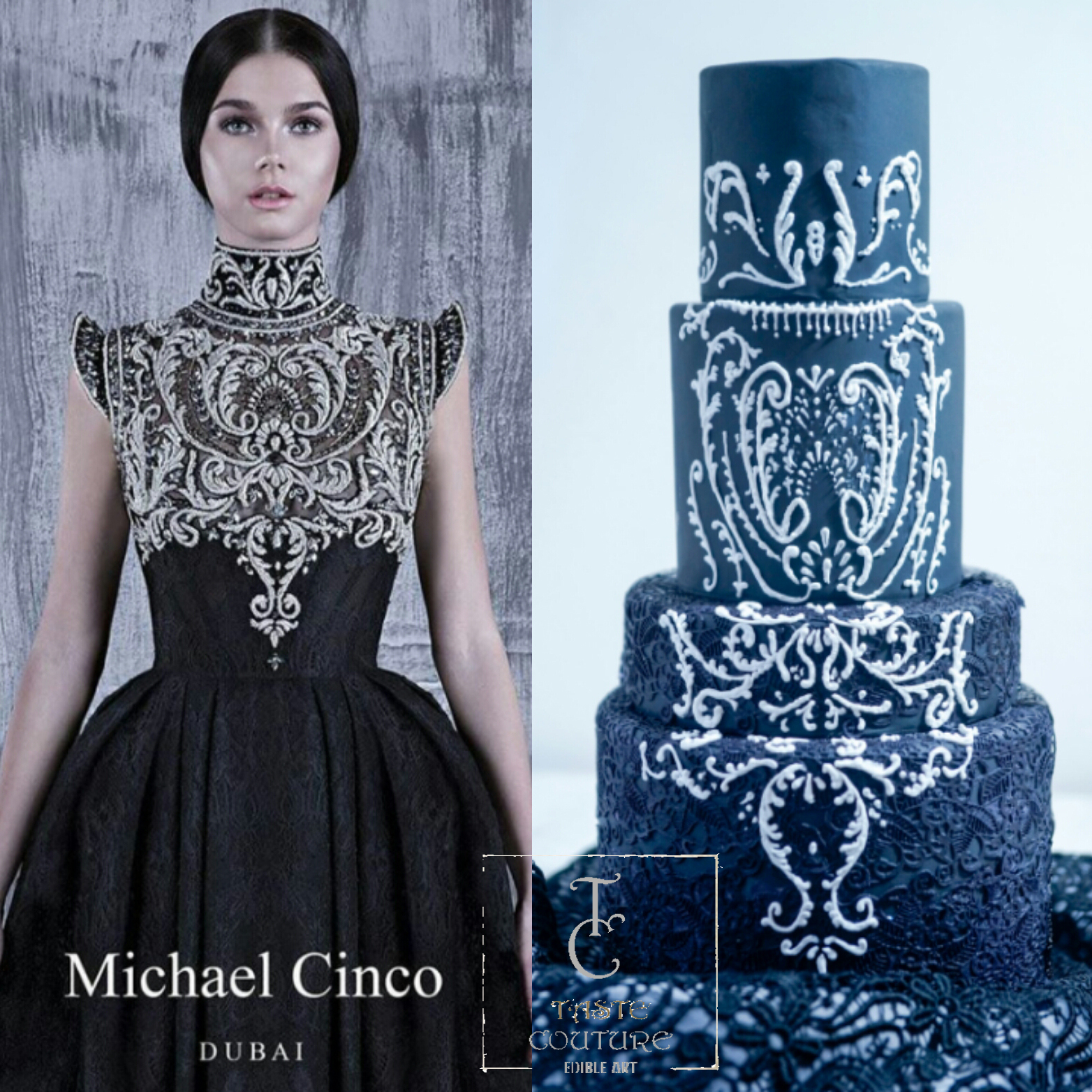 All black fondant wedding cake with white lace