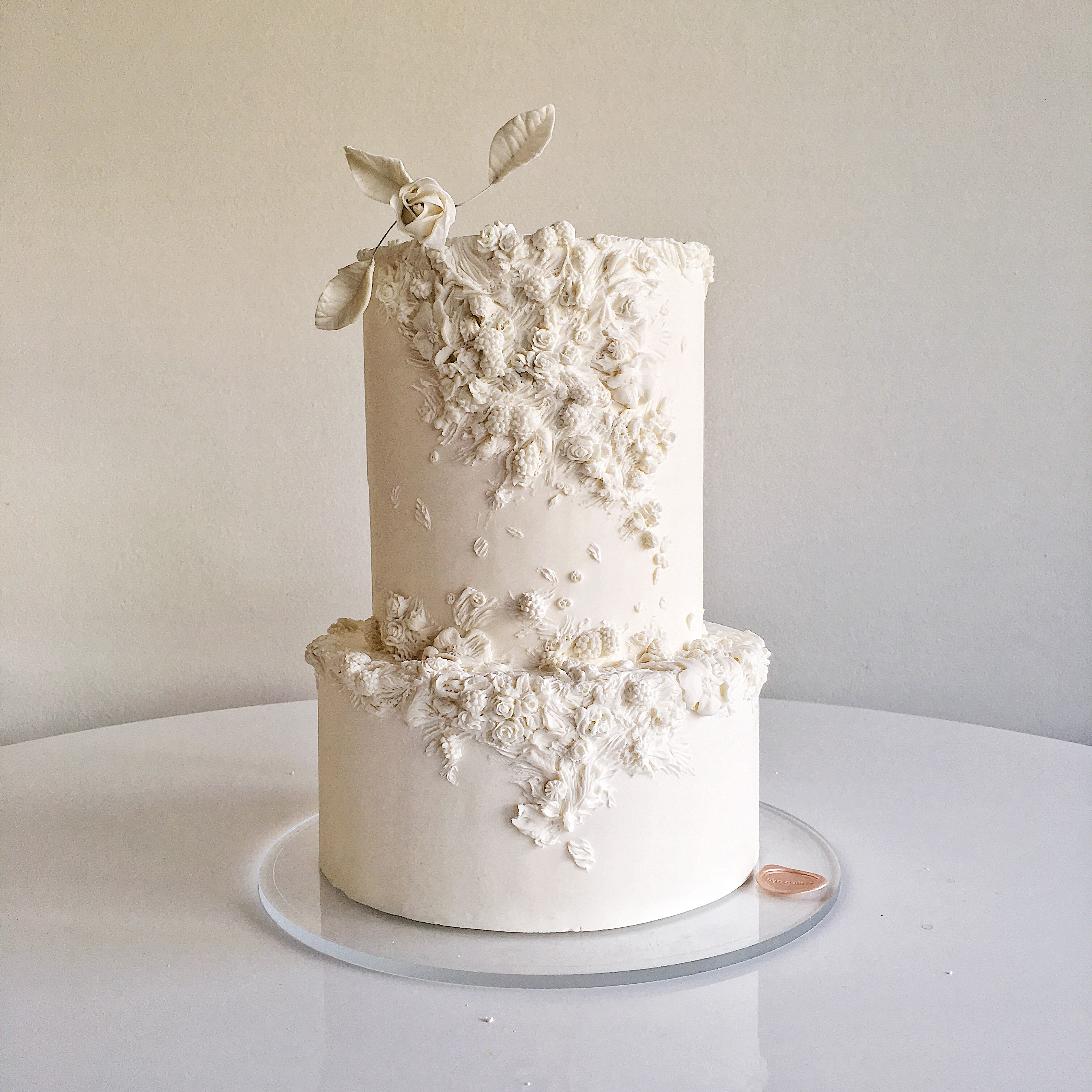 Ivory textured wedding cake