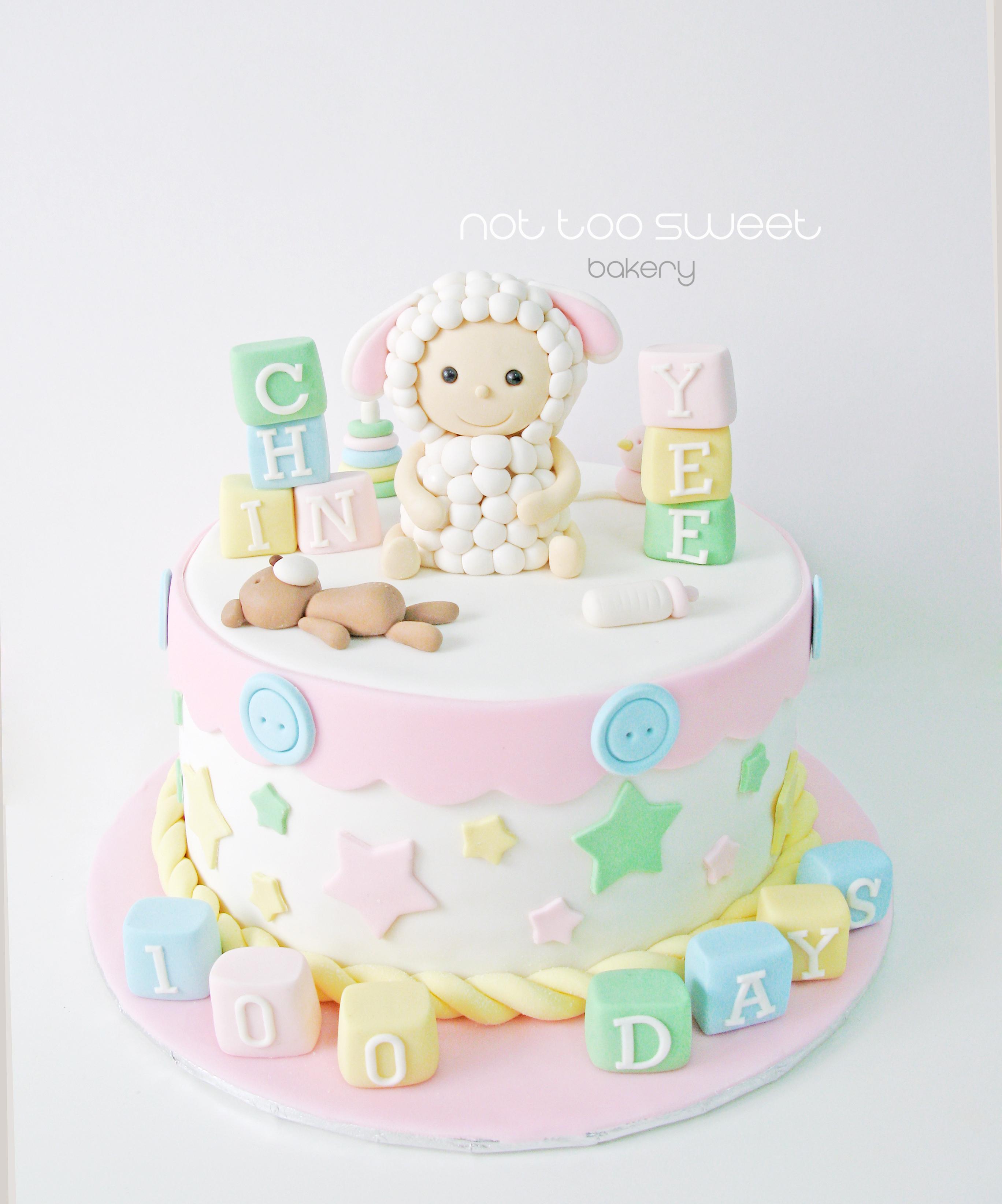 Baby sheep fondant cake
