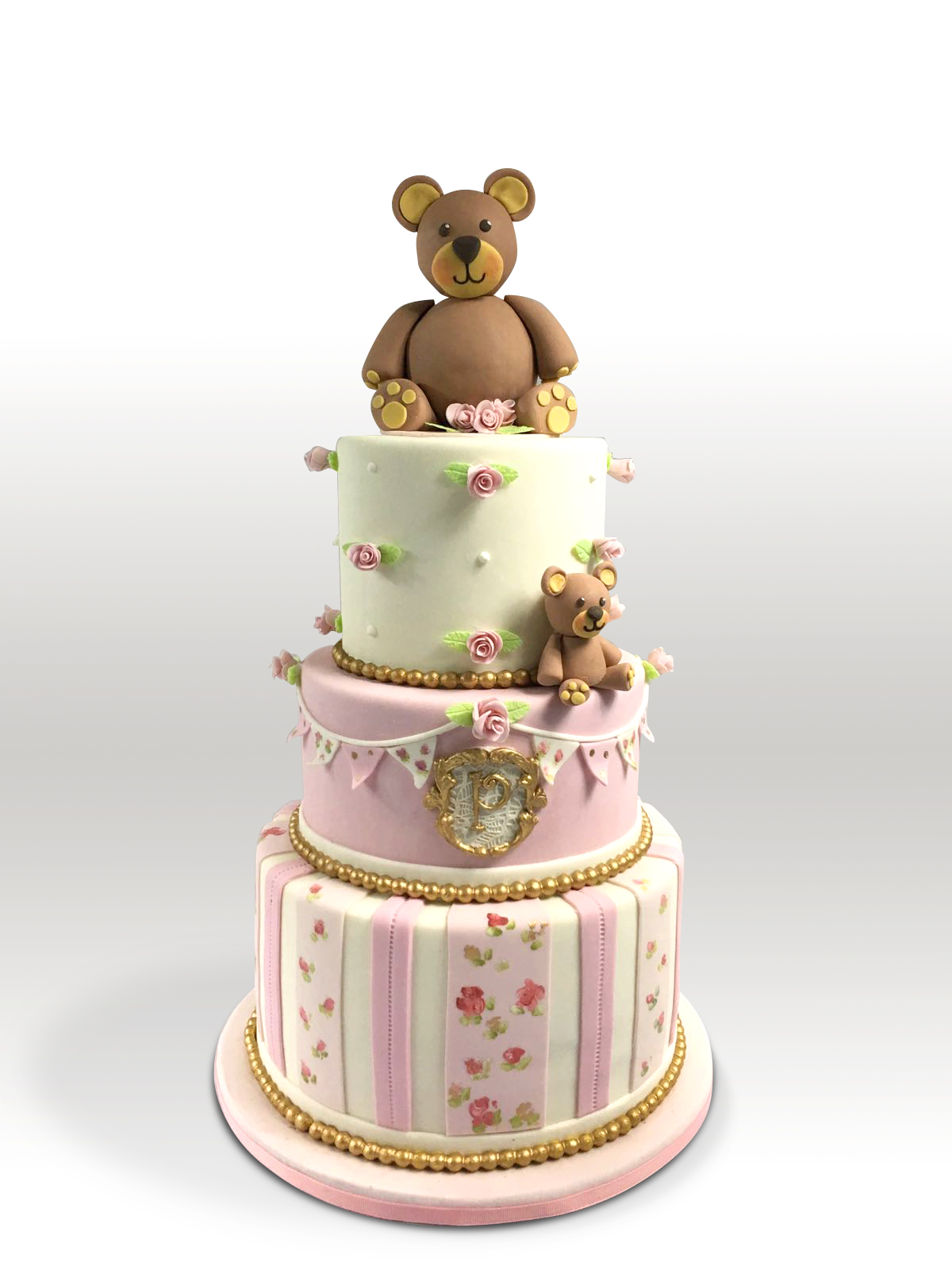 Pink & White Teddy Bear Cake