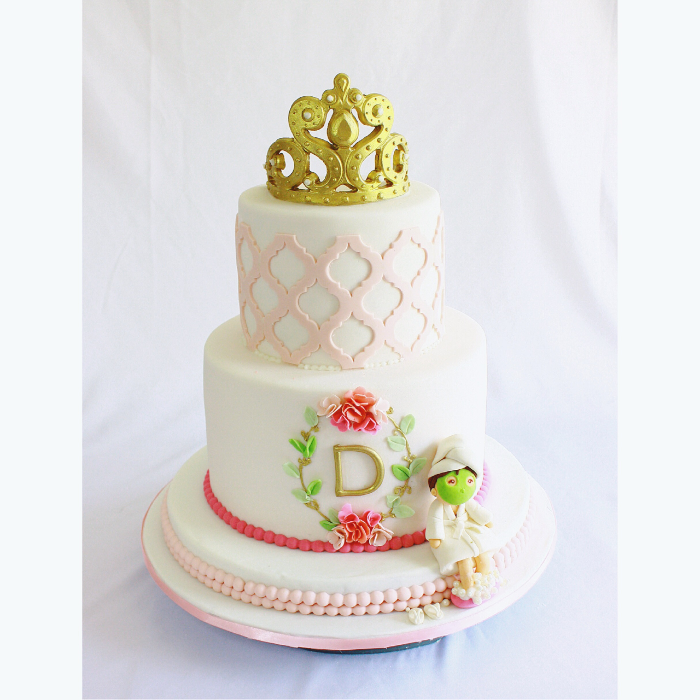 White with pink mom birthday cake with crown
