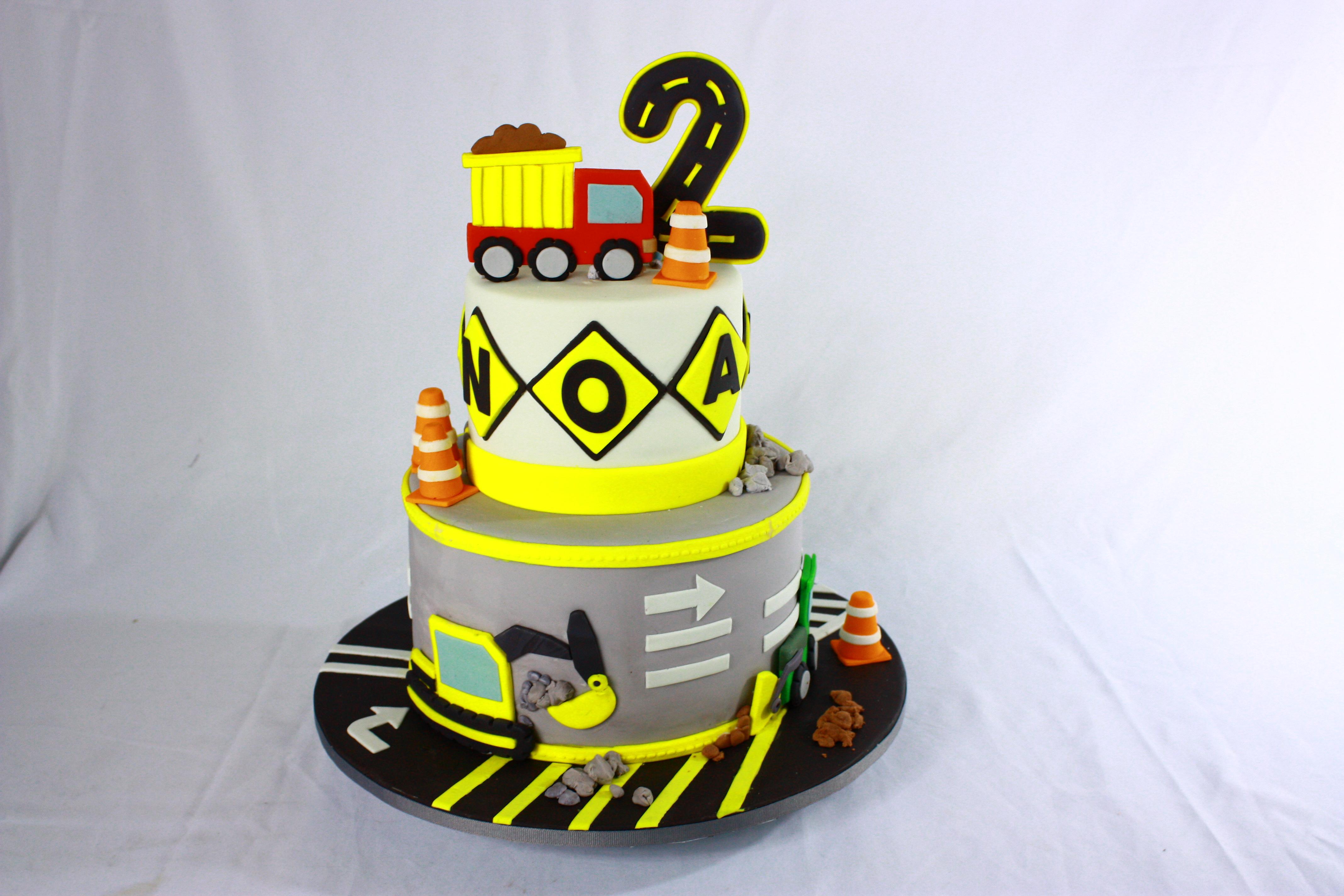 Construction truck fondant birthday cake