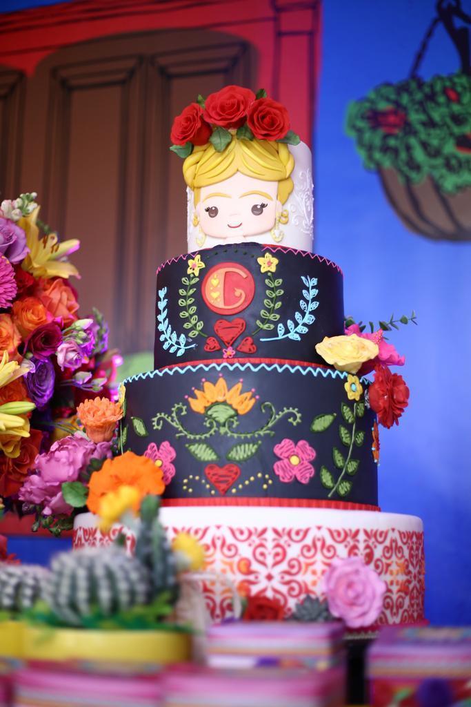 Frida Kahlo themed fondant cake