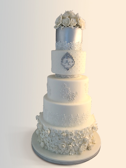 Taupe fondant baroque wedding cake