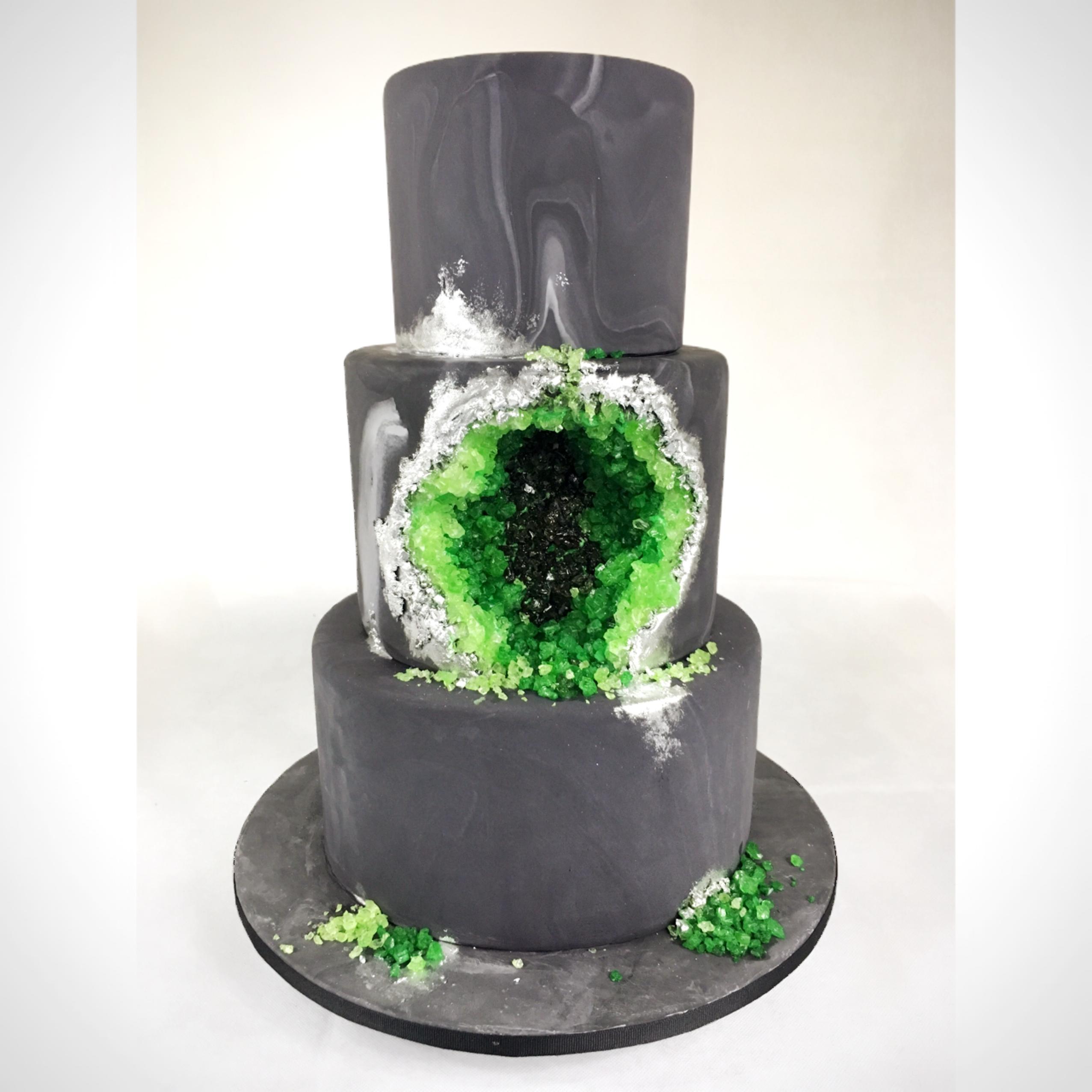 Gray fondant wedding cake with green crystals