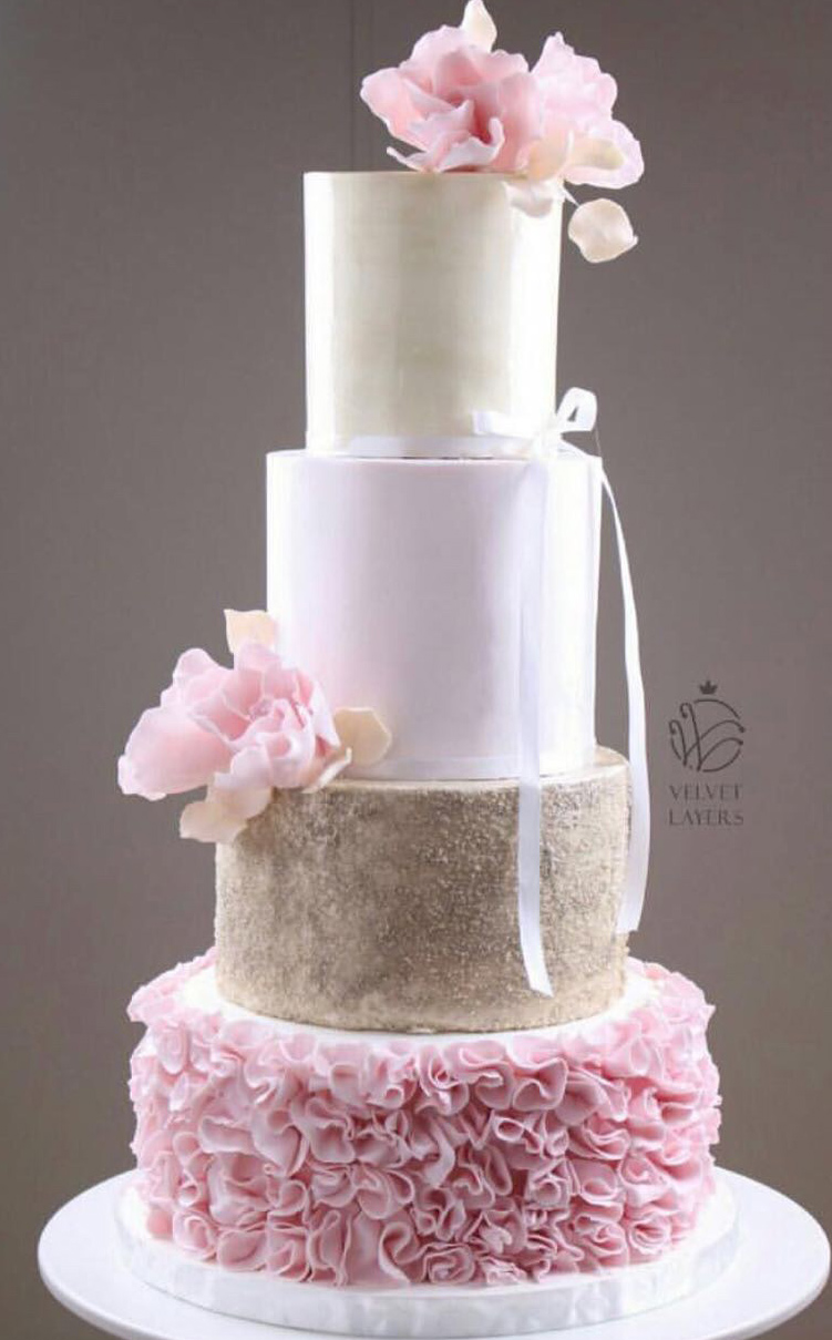 Pink and gold ruffle wedding cake