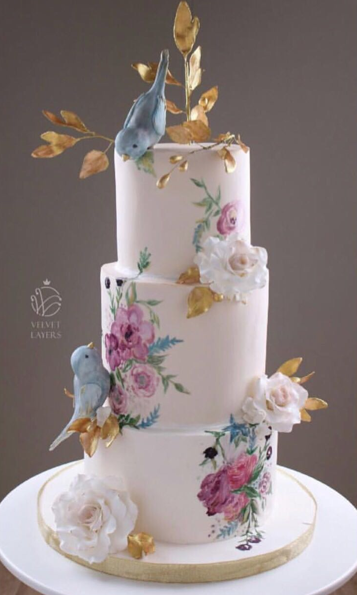 Light pink wedding cam with hand painted spring flowers and sugar birds