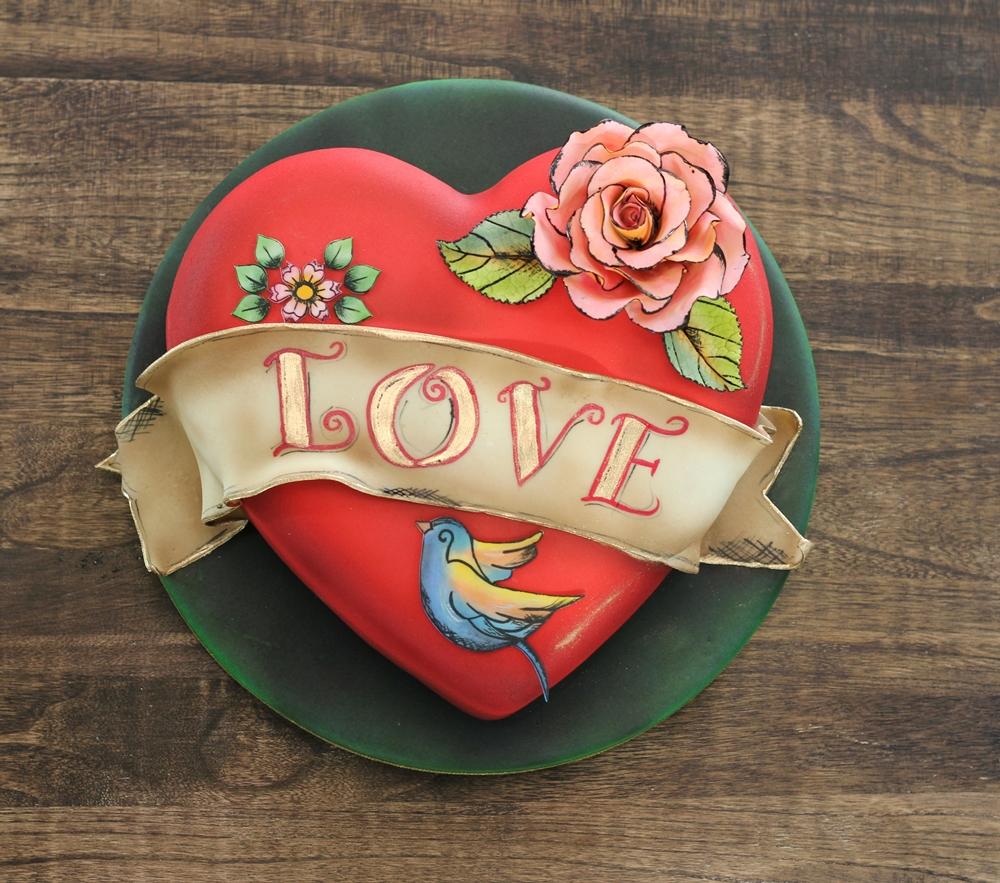 Heart shaped love cake