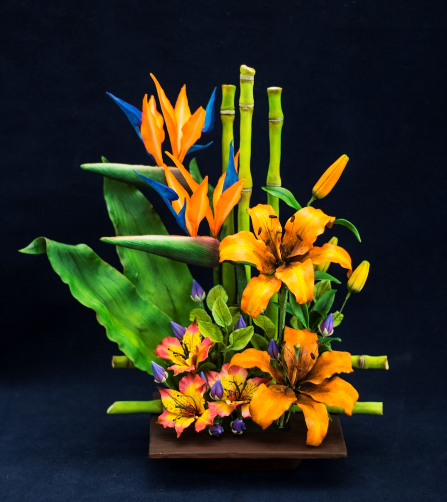 Tropical sugar flowers and bamboo