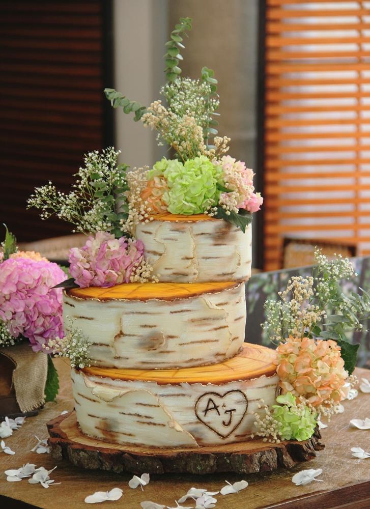 Topsy Turvy bark wedding cake
