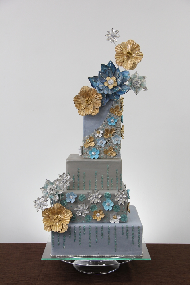 Gray square wedding cake with sugar flowers