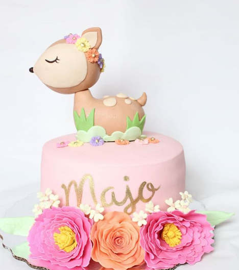 Woodland deer fondant birthday cake