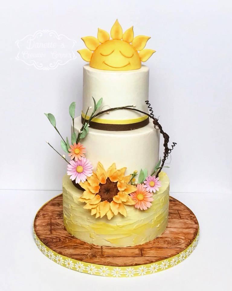 Sunshine topper fondant cake