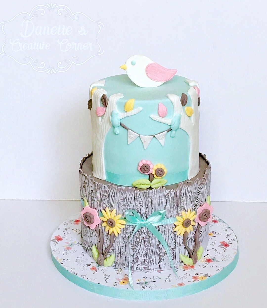 Light blue spring birthday cake