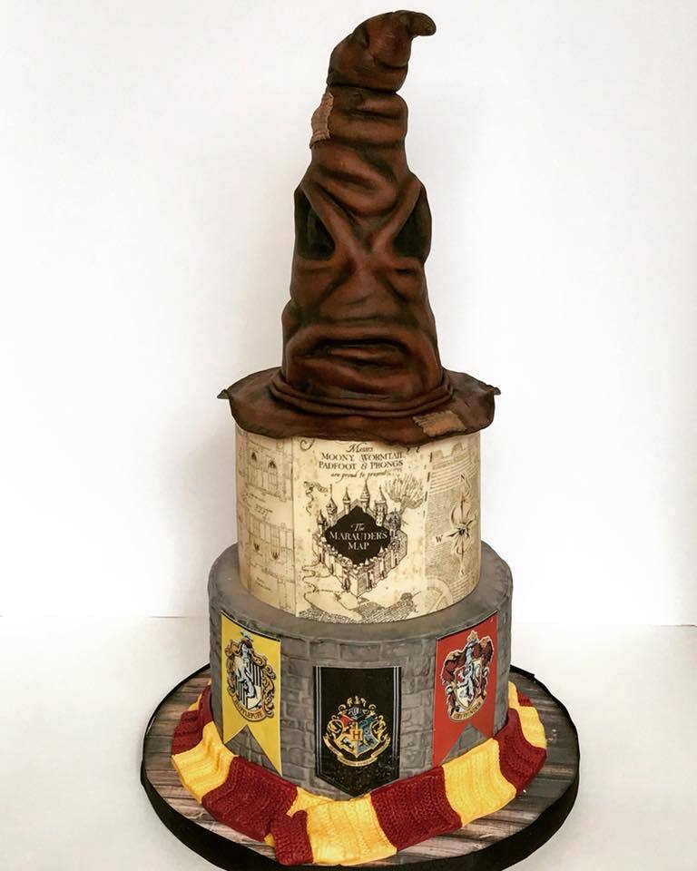 Harry potter sorting hat fondant birthday cake