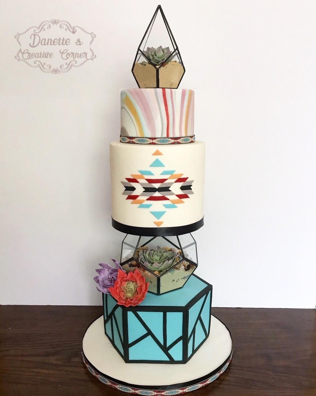 Desert boho fondant wedding cake