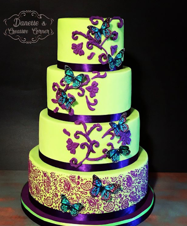 Bright green fondant glow in the dark wedding cake