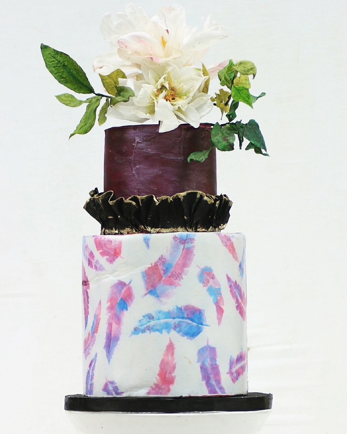 Purple wedding cake with watercolor
