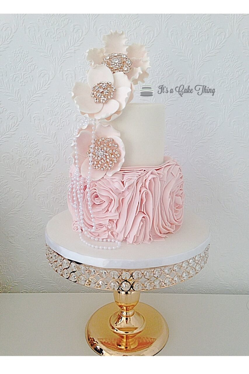 White & baby Pink rosette wedding with pearls