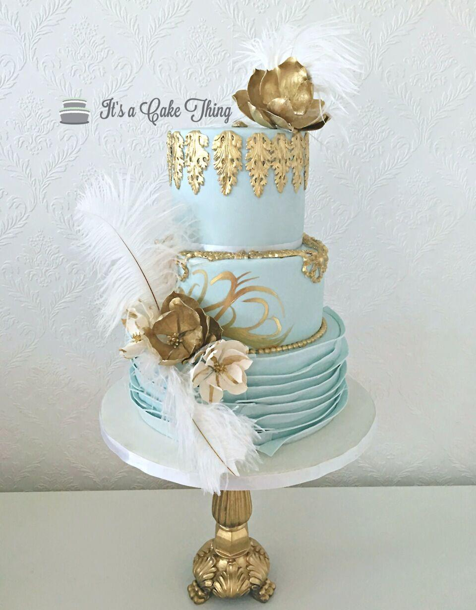 Baby blue Marie Antoinette themed fondant Wedding