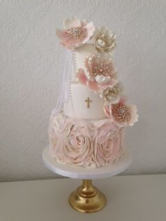 All baby pink rosette wedding cake