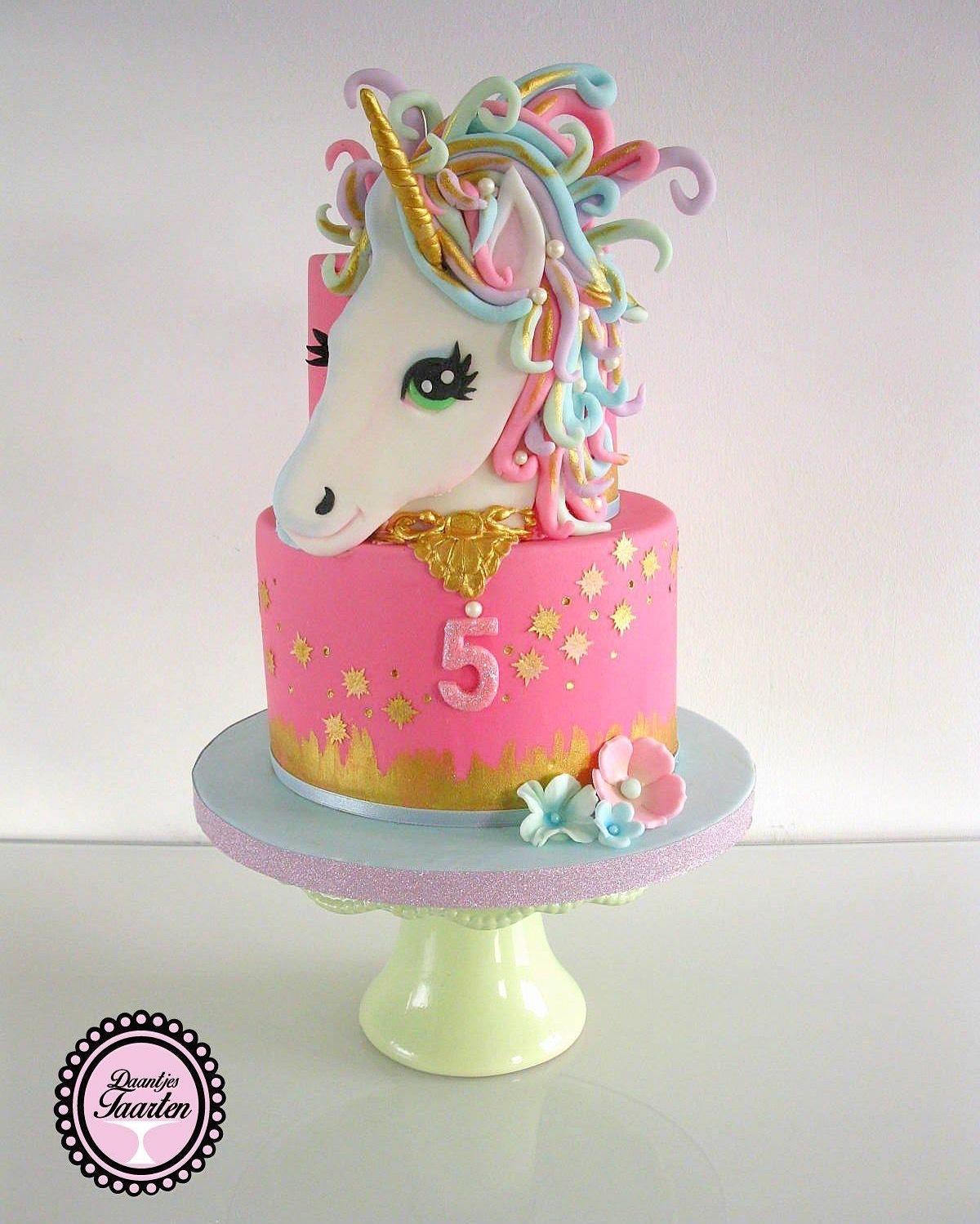 Pink Unicorn birthday fondant cake