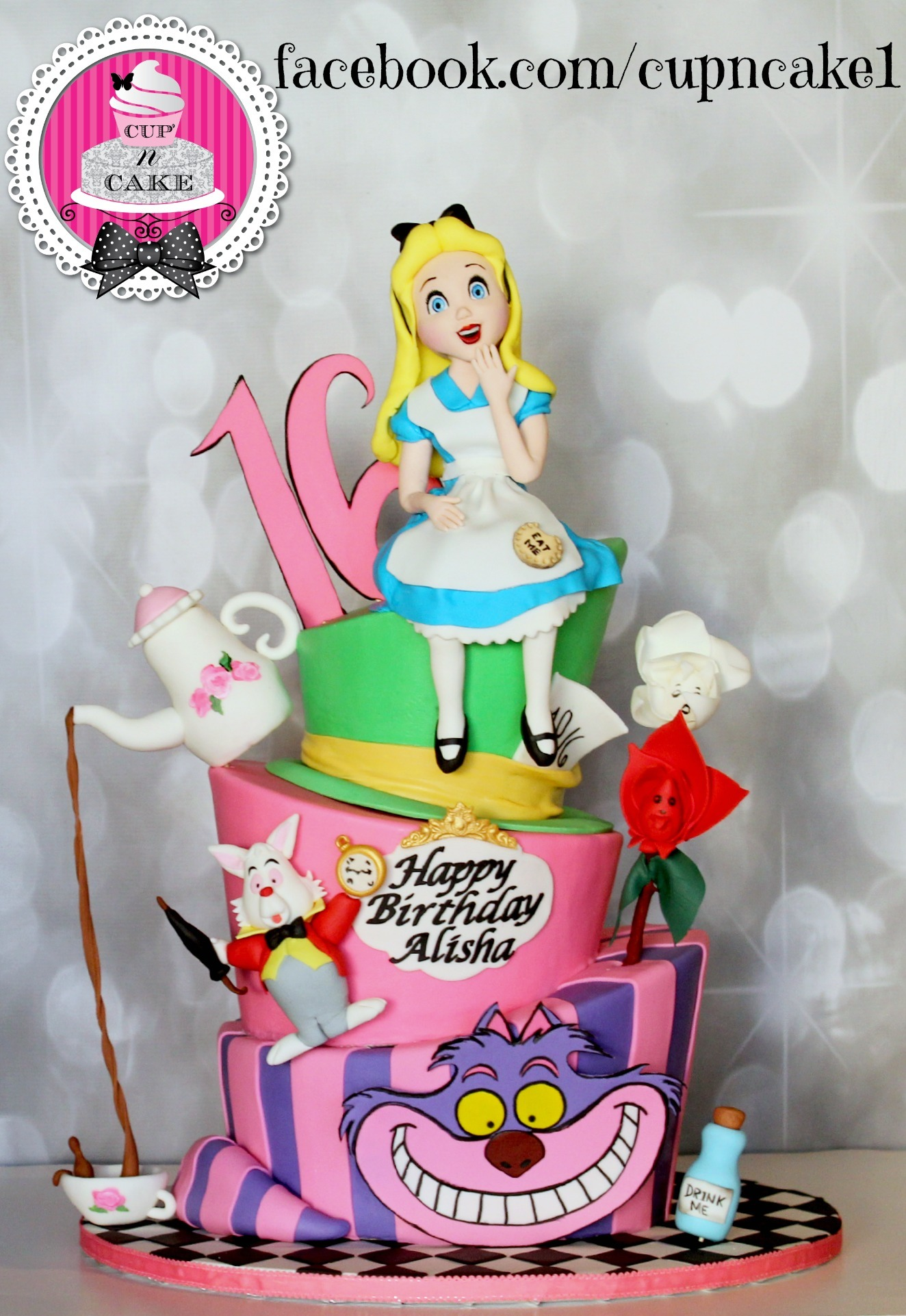 Topsy Turvy Alice in Wonderland Cake