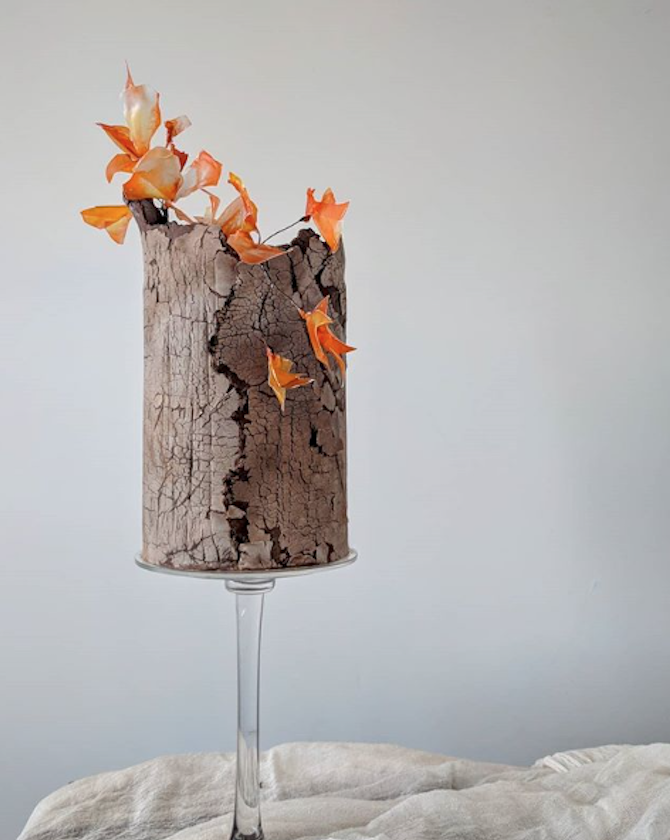 Tree bark effect fondant wedding cake with autumn leaves