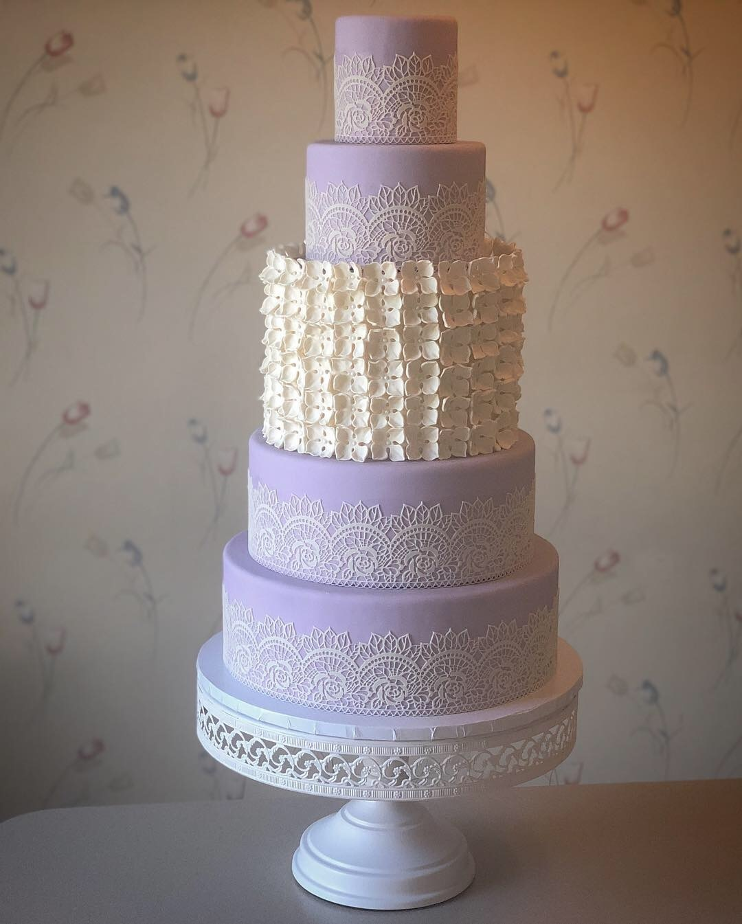lavender and ivory fondant wedding cake