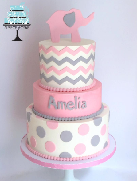 Gray and pink polka dot baby elephant cake