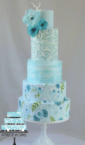 Pastel blue and white fondant cake with blue sugar flowers