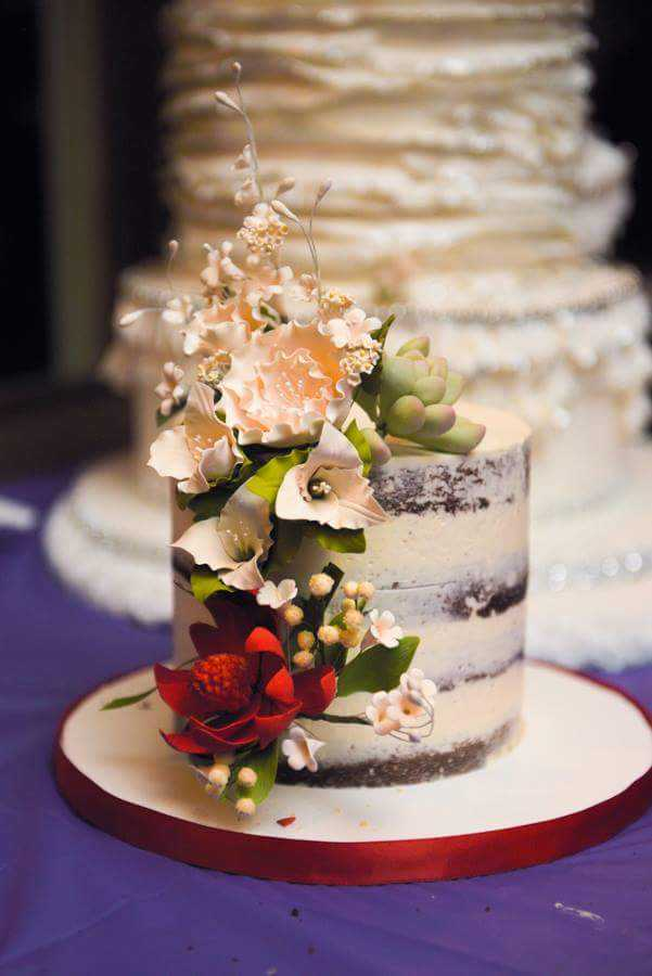 Rustic Naked wedding cake with sugar flowers