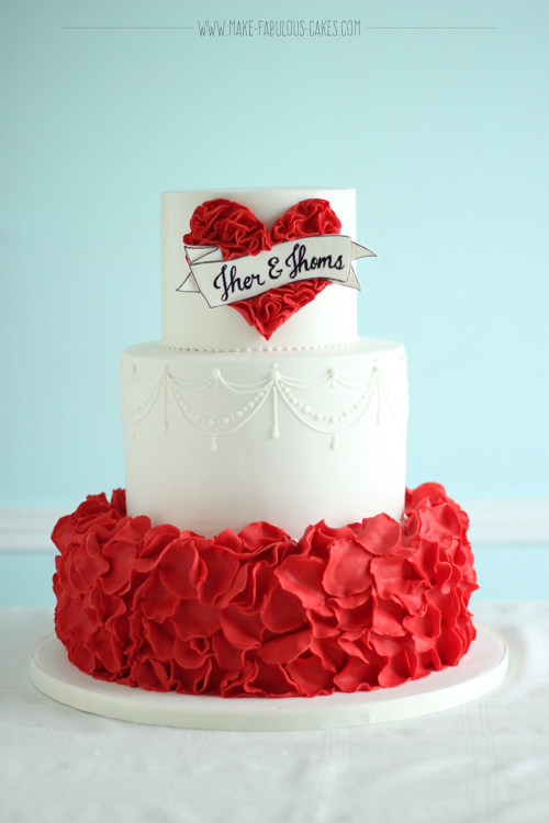 White & Red fondant cake with Ruffles